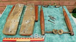 Reclaimed Set Of MID Century Solid Bronze / Brass & Teak Door Pulls / Handles