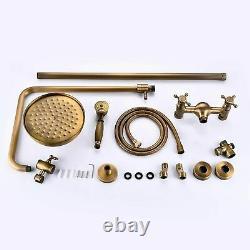 Retro Antique Brass Bath Rainfall Shower Set Faucet with Hand Sprayer Wall Mount