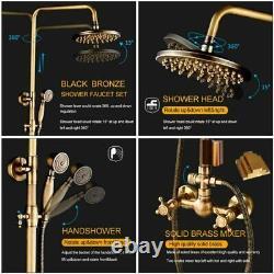 Retro Antique Brass Shower Taps Set Rainfall Shower Head Hand Shower Wall Mount