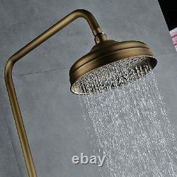Retro Antique Brass Wall Mount Bath Rainfall Shower Set Faucet with Hand Sprayer