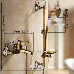 Retro Brass Bathroom Wall Shower Slide Bar Faucet Set Bathtub Mixer Water Tap