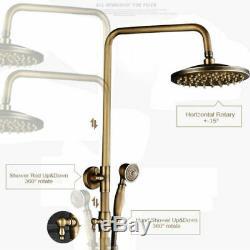 Rozin Wall Mounted Antique Brass Bathroom Rainfall Shower Faucet Set Mixer Tap