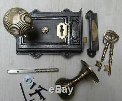 Rustic Old Vintage Cast Iron Davenport Lock + Antique Brass Reeded Rim Knob Set
