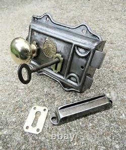 SALVAGED EDWARDIAN DOOR RIM LOCK SET key knob handle brass Royal Letters Patent