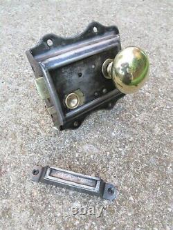 SALVAGED EDWARDIAN THUMB DOOR RIM LOCK BRASS HANDLE KEEP SET key letter box knob