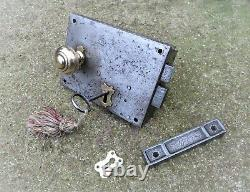 SALVAGED VICTORIAN DOOR RIM LOCK SET related key knob keep handle letterbox