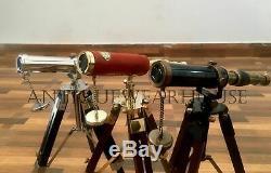 SET OF 3 Handmade Solid Brass Pirate Spyglass Telescope With Wooden Tripod Decor