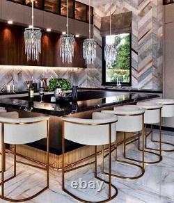 SET OF 4 Calvin Leather Barstools Black Leather Brushed Brass Metallic Cowhide