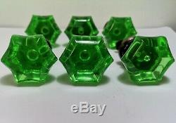 SET OF 6 ANTIQUE Drawer KNOBS Baccarat URANIUM GREEN Glass VICTORIAN ERA