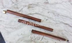SET of 3 Brass Vintage Designer Derby head Handle Wooden Walking Stick Cane Gift