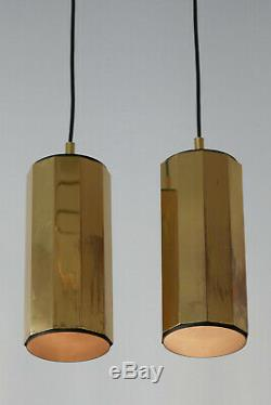 SET of TWO Mid Century Modern BRASS Decagonal PENDANT LAMPS Hanging Lights 1960s
