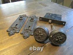 Sargent Door Knob Back Plate Set Antique Victorian Original Mortise Lock Vintage