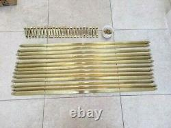 Set 12 + antique brass stair rods and brackets, trefoil ends, 83.5cm 32.75 long