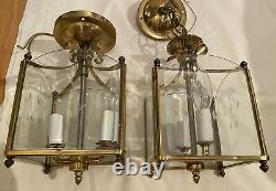 Set 2 Matching Square Glass Chandelier Pendant Ceiling Lights Gold Antique Brass