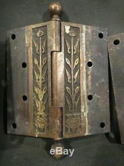 Set 3 Antique Eastlake 4 1/2 Potted Plant Brass or Bronze Hinges -Door Hardware