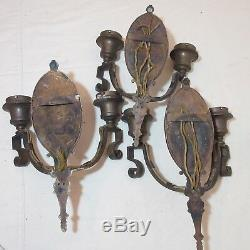 Set 3 high quality antique RP&H bronze ornate empire electric wall sconce brass