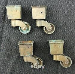 Set 4 Antique Vintage SOLID Cast Brass Furniture Caster Feet Wheel Roller Cap