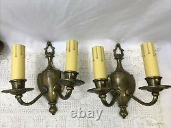 Set 4 Antique Vtg Art Deco Brass Wall Sconces Tudor Colonial 1920's, Aged Patina