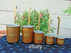 Set 5 Vintage French Copper Lipped Measuring Cups Jugs Pourers Brass Handles