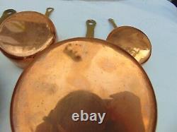 Set 6 Vintage French Graduating Copper Saucepans