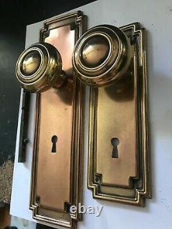 Set Antique Art Craft Deco Craftsman Brass Entry Door Knobs Plates Lock Hardware