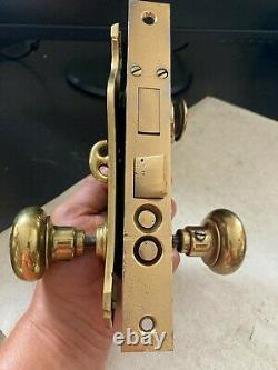 Set Antique Arts Craft Deco Victorian Brass Entry Door Knob Plates Lock Hardware