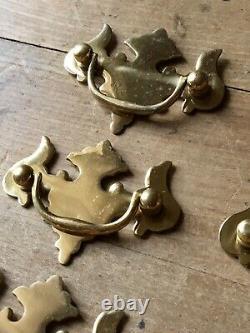Set Antique Handles Drawer Pull Brass Door Vintage Old Salvage