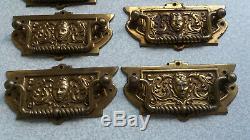 Set Eight Antique Brass Arts Crafts Drawer Pulls / Door Handles- Lady -1886