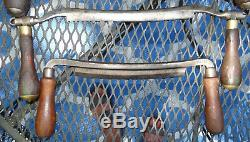Set Lot Draw Knife 8-9-12 Pexto Brass Log Shave Plane Tool Vtg Antique