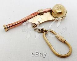 Set / Lot of 50 Brass Boatswain Whistle key Chain Bosun Call Pipe Nautical gift
