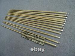 Set Of 13 Vintage Solid Brass Stair Rods And 26 Brackets
