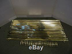 Set Of 14 Brass Stair Rods & Fittings