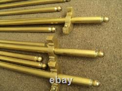 Set Of 14 Vintage Solid Stair Rods And Brackets