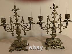 Set Of 2 Antique Brass Candelabras Candlestick Holders