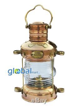 Set Of 2 Brass Antique Ship Lamp Nautical Anchor Lantern Oil Burner Boat Light