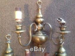 Set Of 3 Antique Brass Neoclassical Wall Sconces