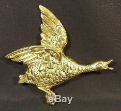 Set Of 3 Brass Wall Mounted Mallard Ducks Made In England C. 1960's V G Condition