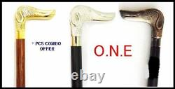Set Of 3 Dog Style Walking Stick Cane Solid Brass Handle Wooden Rosewood Stick