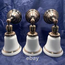 Set Of 3 Three Early Antique Brass Original Patina Sconces Milk White Shades 74D