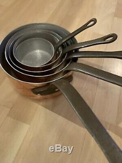Set Of 5 Vintage French Copper Pan With Cast Handles
