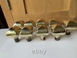 Set Of 9 Antique Brass Door Knob Handles