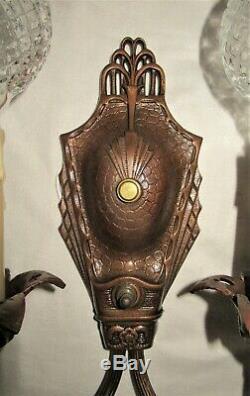 Set Of Antique Art Nouveau Chandelier &2 Sconces Light Fixture Bronze Cast Iron