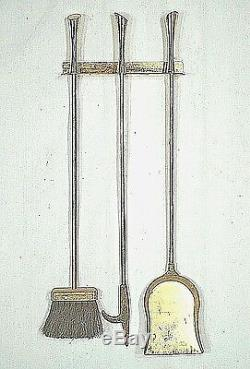 Set Of MID Century Modern Deskey Evans Brass Fireplace Tools And Holder