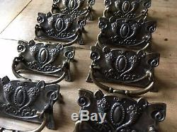 Set Of Victorian Style Drawer Pull Handles Antique Solid Brass Vintage