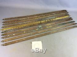 Set Of X 10 Reclaimed Edwardian Brass Stair Rods Fleur De Lis Trefoil