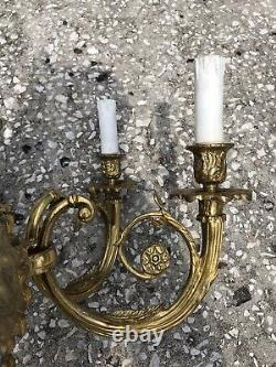 Set of 2 Adam's Style French Brass 3 Candle Light Wall Sconces 25'' 9.7LBS EACH