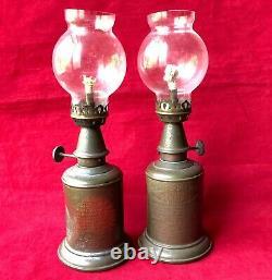 Set of 2 Antique 1900s Brass Lampe Pigeon Oil Lamp Glass Chimney France (Dented)