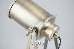 Set of 2 Antique Brass Tripod Spotlight Style Table Lamp