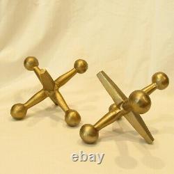 Set of 2 Large VTG MCM Aluminum Brass Tone Jacks JAX Bookend Sculpture 8.5x7
