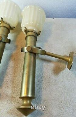 Set of 2 Salvaged Antique Brass And Beige Glass Wall Sconces 12.25 Tall